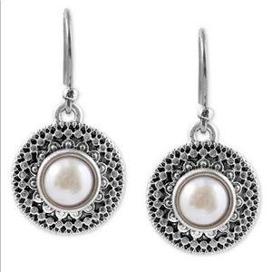 Lucky Brand Freshwater Pearl Medallion Earrings